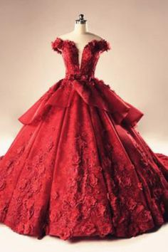 Illusion Neckline Cap Sleeves Floral Lace Ball Gowns Wedding Dresses,Red Lace Up Flowers Quinceanera Dresses,Wedding Dresses Lace Ball Gowns, Ball Dresses, Prom Dresses, Dresses Uk, Evening Dresses, Trendy Dresses, Elegant Dresses, Beautiful Dresses, Red Wedding Dresses