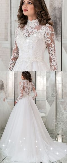 Junoesque Tulle & Lace Illuison High Collar A-line Wedding Dress With Lace Appliques & Beadings