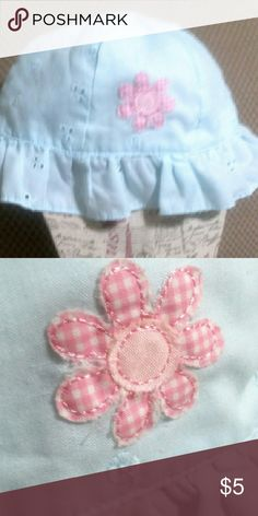 Ruffled Children's  Eyelet hat Baby Blue eyelet.  Lined with white material underneath.  Has an applique pink check floer on front.  Size 3-6 months. Accessories Hats