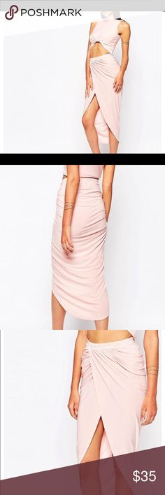 Ruched Pencil Skirt with Wrap Front - nude pink Ruched Pencil Skirt with Wrap Front, stretch fabric, asymmetric hemline, with matching top, never worn. ASOS Skirts Midi