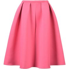 Choies Pink Sliky Midi Skater Skirt ($25) ❤ liked on Polyvore featuring skirts, bottoms, saias, gonne, pink, pink knee length skirt, flared midi skirt, calf length skirts, flared skirt and pink circle skirt