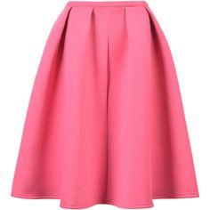 Choies Pink Sliky Midi Skater Skirt featuring polyvore, fashion, clothing, skirts, bottoms, gonne, pink, circle skirt, pink skirt, pink knee length skirt, skater skirt and flared skirt