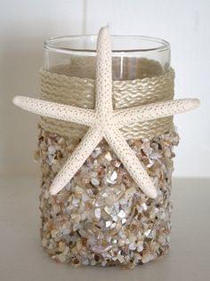 Natural Seashell Coastal Candleholder - Small Beach Decor   Nautical Decor   Tropical Decor   Coastal Decor