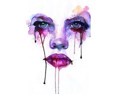 intense watercolor painting blood tears female face feminine portrait pink purple art eyes « « Mayhem & Muse