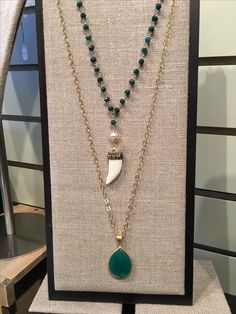 Green onyx pendant on gold filled chain  Green onyx hand wrapped chain with pave pearl connector and bone pendant