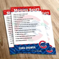 Chicago Cubs – Who Knows Mommy Best Baby Shower Game