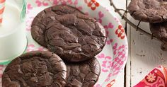 Deep-dark, chewy fudge cookies, free of gluten and added fat.