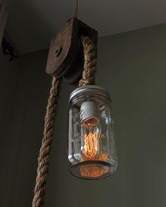 Rustic Ball Mason Jar Pulley Lamp Light w/ Edison bulb - Barn Nautical Industrial Steampunk Chic
