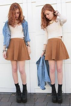 Nova And Cher Jean Jacket, American Apparel Brown Skirt, H&M Gold Chain