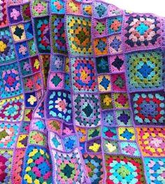Crochet afghan handmade crochet blanket kaleidoscope crochet granny square afghan