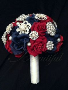 Wedding Roses Patriotic Red White and Blue Velvet Rose and Pearl Brooch Bouquet just in time for Summer, of July or Military Wedding July 4th Wedding, Red Wedding, Wedding Colors, Wedding Day, Wedding Stuff, Wedding Bouquets, Wedding Flowers, Cute Wedding Ideas, Wedding Inspiration