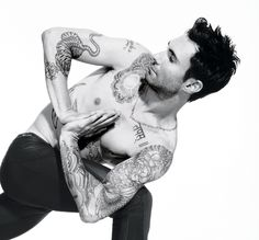 "Adam Levine (yoga + tattoos = yum) I accidentally pinned this to decorating ideas, was gonna move it to ""Hotties"" board but decided that Adam Levine can decorate me with his body :-)"