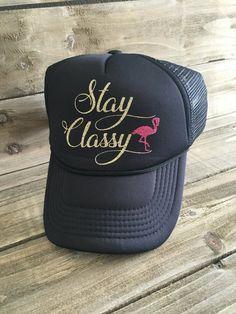 Stay Classy Sparkle Trucker Hat. MissFancyFox. Gorras Estampadas ... 4c1a7b68102