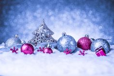 Blue Christmas Background with Pink Ornaments Winter Holidays, Christmas Holidays, Christmas Decorations, Christmas Ornaments, Happy Holidays, Merry Christmas, Christmas Desktop Wallpaper, Winter Wallpaper, Hd Wallpaper