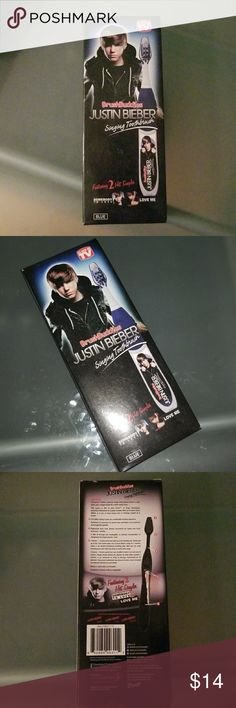 """Justin Bieber singing toothbrush. Justin Bieber singing toothbrush. Featuring 2 hit songs """" somebody to love & love me"""". New. Color blue. Other"""