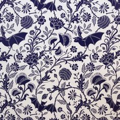 Elysian Fields is a dense, intricate floral that utilizes carnivorous plants and bats instead of roses and robins. We love the irreverence of these unexpected elements within the classic stylings of t