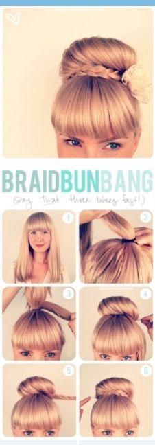 The braid bun with bangs