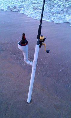 Fishing poles and fishing pole holders Fishing Pole Holder, Pole Holders, Fishing Rigs, Surf Fishing, Deep Sea Fishing, Gone Fishing, Saltwater Fishing, Bass Fishing, Fishing Knots