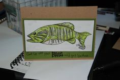 Handmade Card  Stamp by JessicaLynnOriginal.com Get up off your Bass and Get Well Fishing card for Dad by JessicaLynnMould - Cards and Paper Crafts at Splitcoaststampers