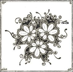 flowerz by Khmelic on deviantART Zentangle Drawings, Doodles Zentangles, Doodle Drawings, Easy Drawings, Zen Doodle, Doodle Art, Doodle Ideas, Pattern Paper, Pattern Art
