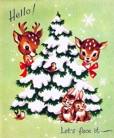 Make one special photo charms for your pets, compatible with your Pandora bracelets. Images Vintage, Vintage Christmas Images, Old Fashioned Christmas, Christmas Scenes, Christmas Deer, Christmas Animals, Retro Christmas, Vintage Holiday, Christmas Pictures