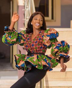 African Blouses, African Tops, African Women, African Print Dresses, African Fashion Dresses, Blouse Styles, Blouse Designs, Beautiful Ankara Styles, Ankara Skirt And Blouse