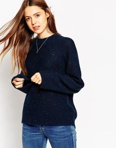 ASOS+Jumper+with+Wide+Sleeves+and+Ripple+Stitch+in+Nep+Yarn