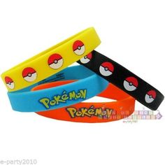 POKEMON Pikachu & Friends RUBBER BRACELETS ~ Birthday Party Supplies Favors #BirthdayChild