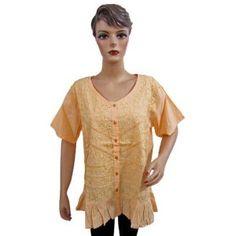 Womens Boho Fashion Tunic Top Peach Embroidered Cotton Blouse Medium Size (Apparel)