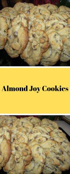 Almond Joy Cookies Ingredients: 1 cup butter 1 cups white sugar 1 cups brown sugar 4 e Cookie Desserts, Just Desserts, Cookie Recipes, Delicious Desserts, Dessert Recipes, Almond Joy Cookies, Yummy Cookies, Cupcake Cookies, Cupcakes