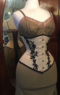 Audrey Corset - Cream with black lace, Isabella Corsetry