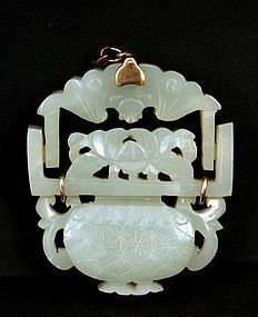 19th Century Chinese White Jade Carved Hanging Basket Plaque Pendant