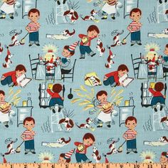 Michael Miller Fabric- Little Chef - Teal - Kids Novelty Fabric via Etsy. @James Alyson: I'm thinking an apron to go along with his little kitchen?