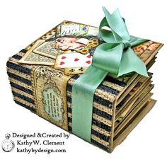 Stamperia Alice Tea Box Mini Album Tutorial by Kathy Clement Kathy by Design for The Funkie Junkie Boutique Photo 07 Mini Albums Scrap, Mini Scrapbook Albums, Handmade Journals, Handmade Books, Handmade Cards, Alice In Wonderland Crafts, Album Photo Scrapbooking, Scrapbooking Ideas, Mini Album Tutorial