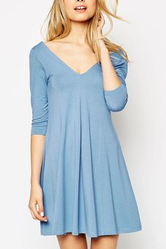 V Neck Backless Solid Color 3/4 Sleeve Dress