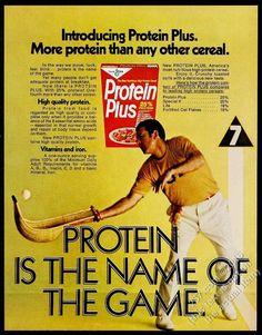 1972 jai alai player photo Kellogg's Protein Plus cereal vintage print ad | eBay