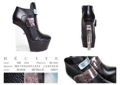 When magic happens, Hécate comes out! This smart lady knows how to mix her crystal wedge with her black leather body and the metallic gray strips around her front. So trendy and glamorous!  ONLINE STORE: bymareshoes.com