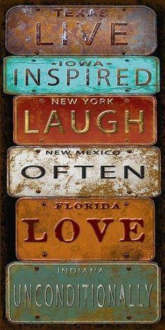 Trademark Global Jean Plout 'Laugh Live Inspired License Plate' Canvas Art - 32 x 22 x 2 Artist Canvas, Canvas Art, Collages D'images, Propaganda E Marketing, Etiquette Vintage, License Plate Art, Printables, Artwork, Prints