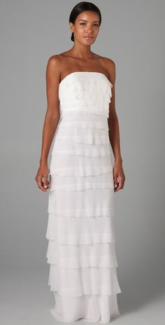 Long Tiered Dress by Adam Lippes: Made of 100%silk with silk lining. Also available in black. #Dress #Adam_Lippes