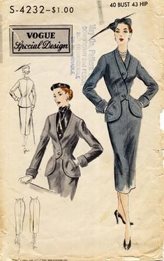 Women's suits once came in an astonishing array of shapes and details because every woman owned a skirt suit for city street wear. VogueS4232