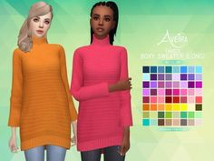 Aveira Sims 4: Tamo's Boxy Sweater (Long) - Recolor • Sims 4 Downloads