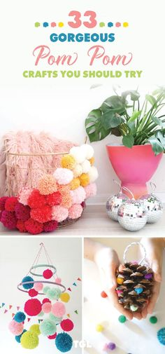 Pom Pom crafts Pom Pom Garlands How To Make Pom Poms Pom Poms can add some much needed pop of color to just about anything! Check out all the creative ideas that can add brightness to anything i is part of Pom pom crafts - Pom Poms, Pom Pom Wreath, Crafts For Teens To Make, Diy For Kids, Diy And Crafts, Pom Pom Crafts, Yarn Crafts, Diy Pom Pom Rug, Wooly Bully