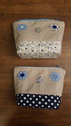 Lovely 3 flower applique Makeup Bag using machine free- motion embroidery, Zip-Pouch, For Bits and Bobs, Girls Case, Handmade, GBP9.00 by CurlyEmmaEmbroidery on Etsy