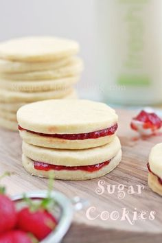 Sugar cookies and jam sandwiches