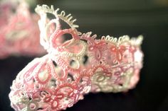 """Tatted baby booties.  """"Complete Book of Tatting"""" by Rebecca Jones"""