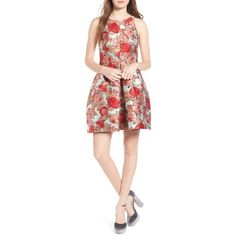 Women's Rachel Antonoff Madeline Floral Print Dress featuring polyvore women's fashion clothing dresses rose garden day party dresses fit flare dress floral jacquard dress flower print dress fit and flare dress