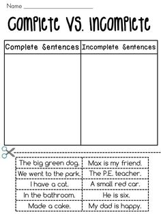 Complete & incomplete sentence worksheet (FREE worksheet ...