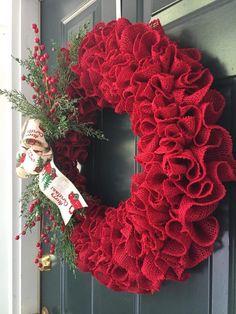 BESTSELLER, Red Ruffled Burlap Christmas Wreath with Little Red Truck Ribbon, Christmas Burlap Wreath, Burlap Ruffle Wreath, Red Burlap - Projects to Try - Crochet Christmas Trees, Burlap Christmas, Christmas Wreaths, Christmas Crafts, Diy Wreath, Burlap Wreath, Christmas Centerpieces, Christmas Decorations, Poinsettia Wreath