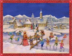 Children Ice Skating in the Snow German Christmas Advent Calendar Countdown Days To Christmas, German Christmas, German Advent Calendar, Advent Calendars, Snow Scenes, Winter Kids, Christmas Illustration, Vintage Ornaments, Great Memories