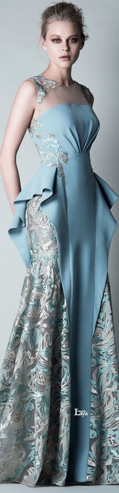 Saiid Kobeisy ~ Pastel Blue + Ivory Embroidered Gown Fall 2015
